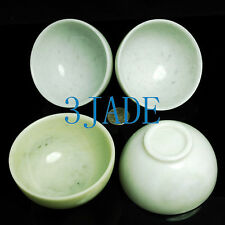4 Hand Carved Natural Chinese Lantian Jade/Serpentine Stone Bowl Sets