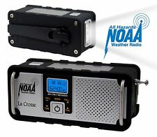 810-106 La Crosse AM/FM/WB NOAA Hand-Crank Weather Radio Flashlight USB Charging