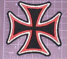 "Medium Tri-Color Maltese Cross Embroidered Patch 4"" Biker Vest Jacket motorcycle"