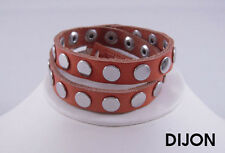 Linea Pelle Silver Flat Stud Double Wrap Bracelet DIJON
