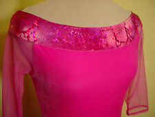 New! Hot Pink Ice Figure Skating dress size Adult Women's Small boat style neck