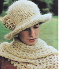 Ladies crochet hat and mohair stole- Crochet Pattern only- Lovely old pattern
