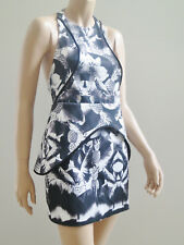 FINDERS KEEPERS Monochrome Halter Neck Unusual Back Mini Peplum Dress M sz 12