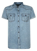 Smith & Jones Men's New Short Sleeve Shirts Denim Check Stripe Pattern Plain