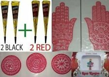 Henna Kit 2 BLACK+ 2 RED Golecha Cones + 2 Hand & 3 Palm Stencils + Bindi