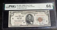 $5 1929 FRBN New York PMG 64 EPQ