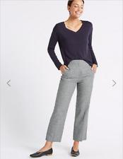 M&S Check Linen Rich High Rise Ankle Grazer Straight Leg Trousers Size 14R BNWT