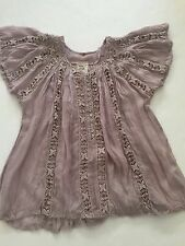 Free People One Flower Chain Crochet Blouse Gray XS NWOT Cotton Gauze Sold Out
