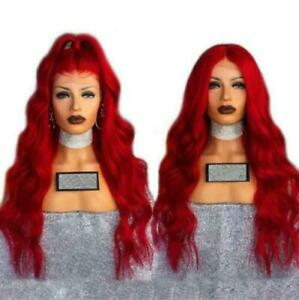 Womens Long Red Wig Silky Wave Heat Resistant Lace Wig Lace Front Wigs Cosplay