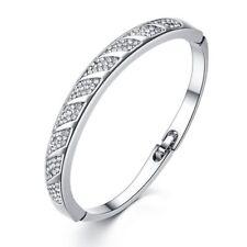 "New Sale Zircon Silver Women Jewelry Wedding Gift Bangle Bracelet  7 3/4"" NS2137"