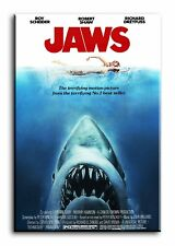 Large Wall Art Canvas Print of Jaws Movie Poster Framed
