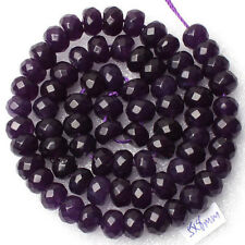 "Purple 5x8mm Faceted Amethyst Gemstone Abacus Rondelle Loose Beads 15"" AA"