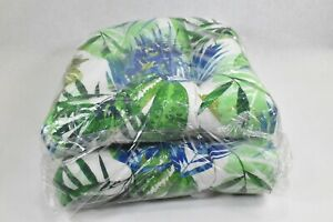 2Pillow Perfect Indoor/Outdoor Chaise Lounge Cushion, Multi-colored LEAVES 18x18