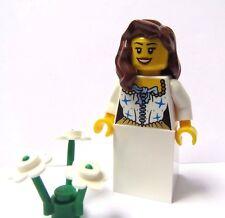 Lego Female Girl Minifigure Princess Bride Maid Brown Wavy Hair  Wedding Blue