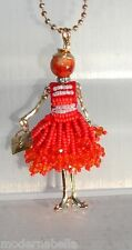 new collection Collana Bambola vestito di perline,necklace doll,da donna rosso