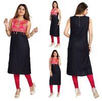 UK STOCK - Indian Pakistani Women Party Kurti Tunic Kurta Top Shirt MM-93-R Pink