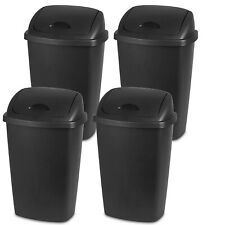 Sterilite 13.2 Gallon Plastic Bin SwingTop Wastebasket Trash Can, Black (4 Pack)