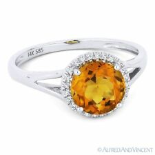 1.39ct Round Cut Citrine & Diamond Halo 14k White Gold Promise Engagement Ring