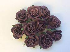 10 DARK PURPLE ROSE (2.5cm) Mulberry Paper Flowers wedding crafts card