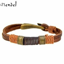 MENDEL 8 Inch Mens Simple Cowboy Copper Leather Bracelet Wristband Cuff For Men