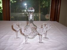 Bohemia Crystal Clear Pinwheel Cordial Decanter & 4 Cordial Glasses