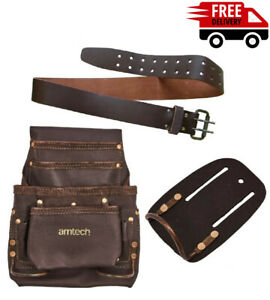 """4 Pocket Genuine Pouch Tanned Leather 28""""-50 Tool Belt Hammer Holder And Set"""
