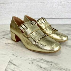 Gentle Souls Ethan Gold Leather Kiltie Loafers Slip On Heels Size 6 NWT