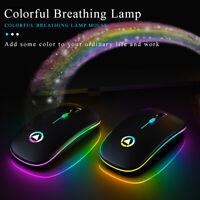 Slim Rechargeable Bluetooth/ USB Wireless RGB Mouse for Tablet PC Andoid iPad