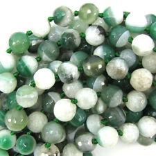 """12mm faceted druzy agate round 13"""" strand green white"""