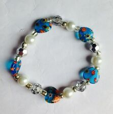 Millefiori Turquoise Heart Glass Bracelet With Silver Crystals And Pearls