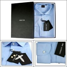 Men's CERRUTI Light Blue Cotton Spread Collar Dress Shirt 15 3/4 M 40 NIB $145!