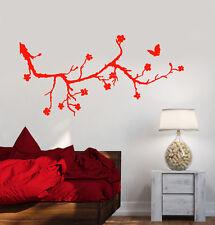 Vinyl Wall Decal Beautiful Sakura Tree Branch Butterfly Flowers Stickers 1477ig
