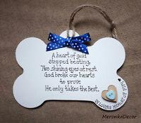 PET BONE SHAPE MEMORIAL-Dog-Cat Indoor Wooden Personalised Plaque- Blue