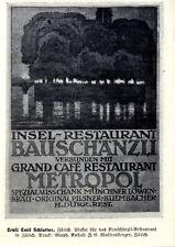 Bauschänzli-Restaurant Zürich Schweizer Plakat-Werbung Vignette von 1913