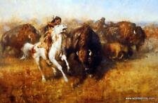 Buffalo Hunt by Andy Thomas Western Art Print Signed  15 x 10