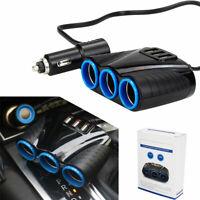 Car Multi Cigarette Lighter Socket Splitter 12V Three USB Charger Power Adapter