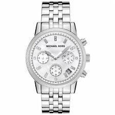 Michael Kors Ladies Ritz Chronograph Watch Stainless Steel White Dial MK5020