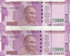 """India, 2000 Rupees """"Set of 2 Notes"""" With 2 Different Year 2017 & 2016, UNC Rare"""