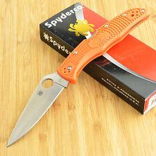 Spyderco Endura 4 FFG Plain Edge Orange FRN Handle Knife C10FPOR