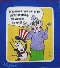 "Maxine Patriotic Fabric In America you can Gripe Anything 5.5""x 6.5"" Quilt Block"