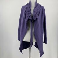Anthropologie Moth Sweater Ha'Penny Purple Cardigan Tie Front Size Small