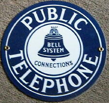 PUBLIC TELEPHONE WHITE ON BLUE PORCELAIN METAL SIGN   NR