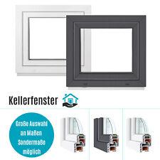 Kellerfenster Fenster Kunststoff 2 & 3 fach ALLE GRÖßEN Weiß & Anthrazit PREMIUM