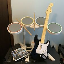 Nintendo Wii Rock Band Guitar Drum Set W/ Dongle Pedal Drumsticks 2 Game Bundle