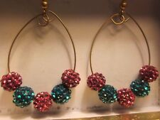 Pair Of Gold Filled Hoop Czech Pave Shamballa Bead Earrings