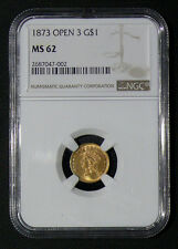 "1873 MS 62 Open ""3"" GOLD Type-3 Indian Princess Head $1 Coin SLABBED NGC"