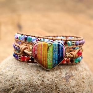 Gemstone Beaded Rainbow Jasper Geode | Leather Wrap Bracelet 7 Stone Chakra