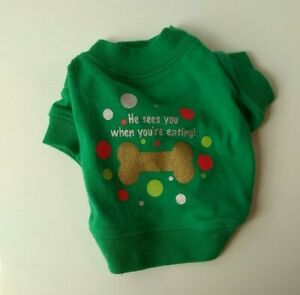 Zack and Zoey Holiday Pet Dog Christmas Tee He Sees You When You're Eating XXS