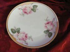 Schwartzenhammer pink rose plate Bavaria orange lusterware black rim