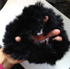 black real genuine rabbit fur elastic stretchy hair band bobble tie scrunchies